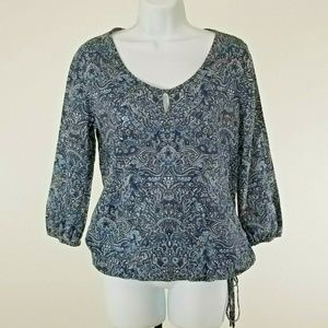 Lucky Brand Blue Paisley Bottom Tie Small Blouse